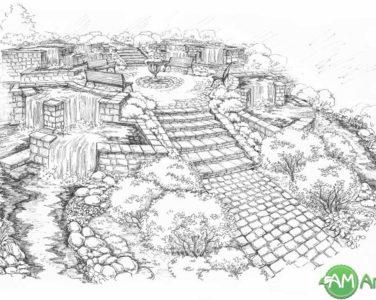 Проект ландшафтного дизайна - набросок